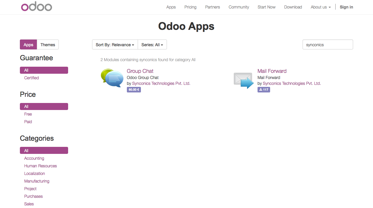 Submit your Apps & Themes on Odoo Apps Store | | Synconics