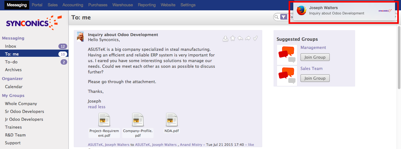 Mail Push Notification in Odoo Email Tool     Synconics Technologies